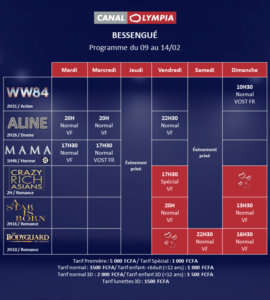 Programme Canal Olympia février 2021
